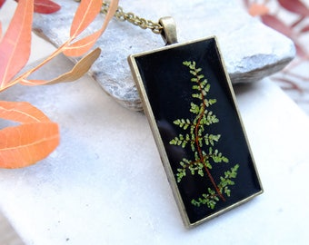 Plant necklace, gift for woman, fern necklace, terrarium necklace, mothers day gift, forest necklace, resin necklace, botanical jewelry,