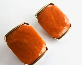 Marbled Butter Scotch Bakelite Clip on Earrings