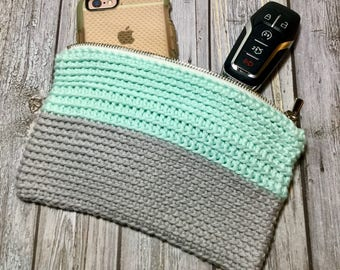 Cosmetic Bag, Makeup Bag, Crochet Clutch Purse
