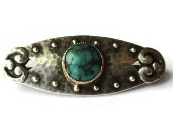 Arts + Crafts Murrle Bennett matrix turquoise brooch, antique hand hammered 950 silver, rose gold collet fake rivets, Liberty style pin 1194