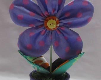 Handmade Yo-Yo Flower Pot, Yo-Yo flower
