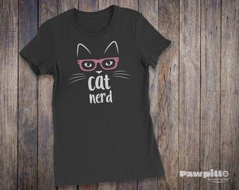 Cat Shirt - Women's Cat Nerd T-Shirt - Cat T-Shirt - Pet T-shirts - Cat Lover Shirt - Pet Lover Clothing - Cat Nerd - Cat Glasses - Cat