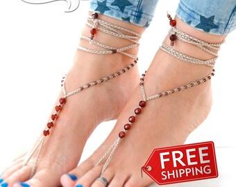 Beige Barefoot Sandals, Barefoot Sandals, Brown Barefoot Sandal, Summer Fashion Trend Anklet, Beach Foot Jewelry, Women Barefoot Sandals