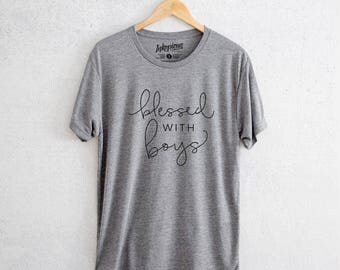 Blessed with Boys - Tri-Blend Unisex Crew Grey - Mom Tee, Positive Quote T-shirt, Gift for Her, cool mom, New mom, blessed with boys