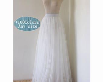 White adult  tulle skirt,wedding bridesmaid dress floor length tulle skirt