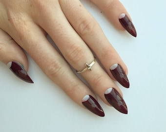 Deep Red Half Moon Nails, 24 negative space half moon press on nails, edgy stiletto nails