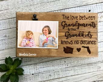 Long distance Grandparents gift, Grandparents frame, Wood picture frame, Custom picture frame, Love knows no distance, Long distance quote