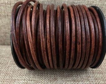 1 Yard 3mm Round Leather Cord - Distressed Brown - Genuine Indian Leather Cord - LCR3-6011