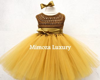 SALE  Ready to ship, Dark Gold/Brown Birthday dress, Flower girl dress tutu dress, bridesmaid dress, gold princess dress, crochet top tulle