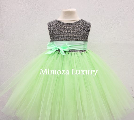 SALE size 1T, 12-18m Ready to ship, Birthday dress tutu dress,  bridesmaid dress, green princess dress, crochet top tulle dress
