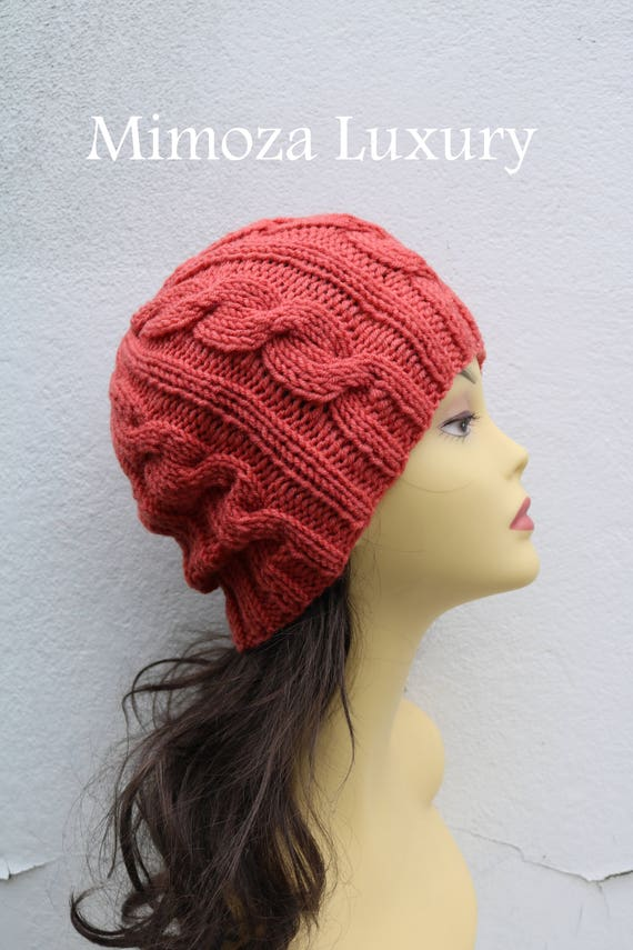 Coral women's Beanie hat, Hand Knitted Hat in coral beanie hat, knitted cap, knitted men's, women's beanie hat, winter beanie, coral ski hat