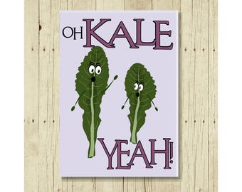 Oh Kale Yeah, Funny Magent, Refrigerator Magnet, Kale Pun, Cute Fridge Magnet, Gifts Under 10, Small Gift, Funny Pun, Gift Magnet, Vegetable