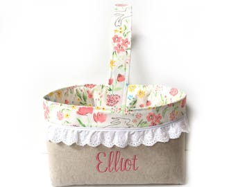 Personalized Easter Basket - Easter Basket - Linen Easter Basket - Name Easter Basket - Custom Easter Basket - Name Easter Bucket Easter Bag