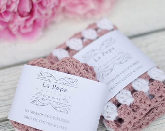 Eco Chic | SPA Set Cotton and Linen Crochet Face Scrubbies and Cloth | Reusable Zero Waste Face Pads and Washcloth