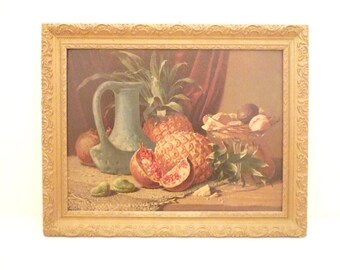 Antique French still life large Chromolithography  Picture Print Chromo for the kitchen 1900  Ananas  exotic fruits Paint French Gold Frame