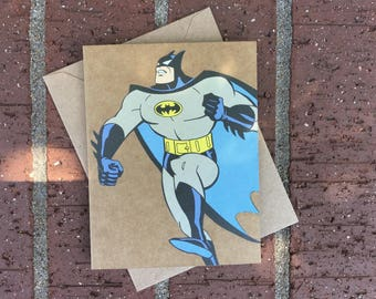 Vintage Batman Animated Series Comic Book Greeting Card (Blank)