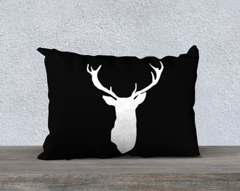 Deer Antlers Pillow  - Black and White Deer Antlers Pillow  - Modern Deer Cushion  - Woodland Home Decor - By Aldari Home
