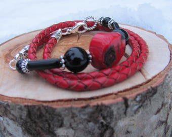 Natural braided leather with Coral and black Agate