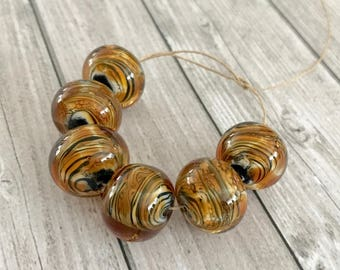 2+ Tiger Stripe Amber White and Black Lampwork Glass Beads - Set tiger beads - Craft Supplies Jewelry - Beading Supplies