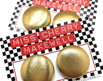 Metallic Gold Shimer Fabric Button Rockabilly 1950's Pin Up Retro Vintage Inspired Earrings By Miss Cherry Makewell