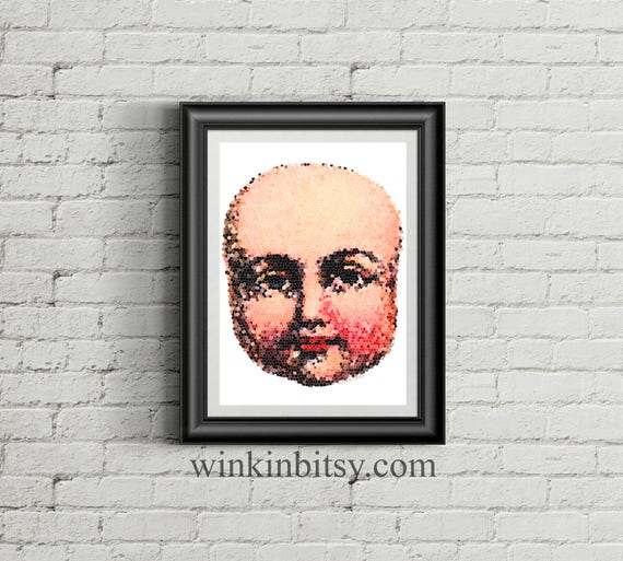 Vintage Victorian Gothic Baby Doll Face Mosaic A4 Size PDF Digital Download Illustration.