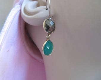 "Handcrafted Victorian Gold/925 Sterling Silver 7.00ctw Genuine Chalcedony 925 Post Dangle 1.5"" Earrings, Wt. 5.2 Grams"