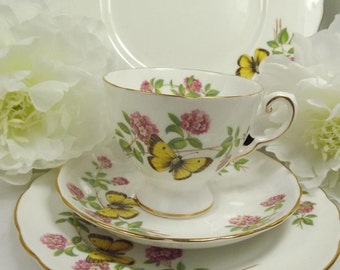 Tuscan Butterfly ( Yellow) Teacup, Saucer , Plate ( Cake plate not included)