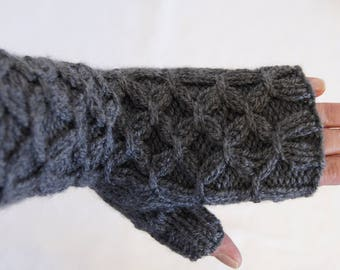 Hand knitted smock cable stitch fingerless gloves by Liz