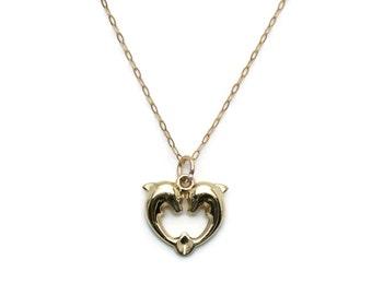 Gold Dolphin Pendant, Double Dolphin Heart, Dolphin Heart Necklace, Heart Dolphin, Dolphin Necklace, Dolphin Pendant, Double Dolphin Pendant