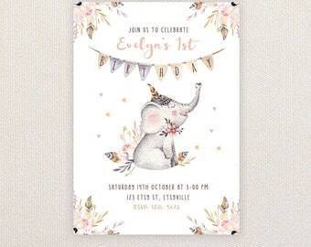 Girls Birthday Party Invitations. Boho Elephant. I Customize, You Print.