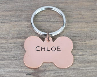 Hand Stamped Copper Bone Pet ID Tag - Dog Tag - Pet Tag