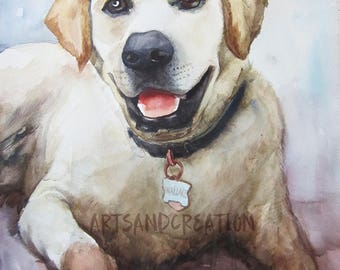 Custom Pets Portrait Hand Painted  Original watercolor Portrait from  Photo Dog Kitty Cat