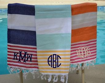 Monogram Turkish Towel , Pestmal Stiped Towel, Cotton Beach Towel, Monogram Beach Towel Turkish Peshtemal Beach Towel, Striped Beach Towels