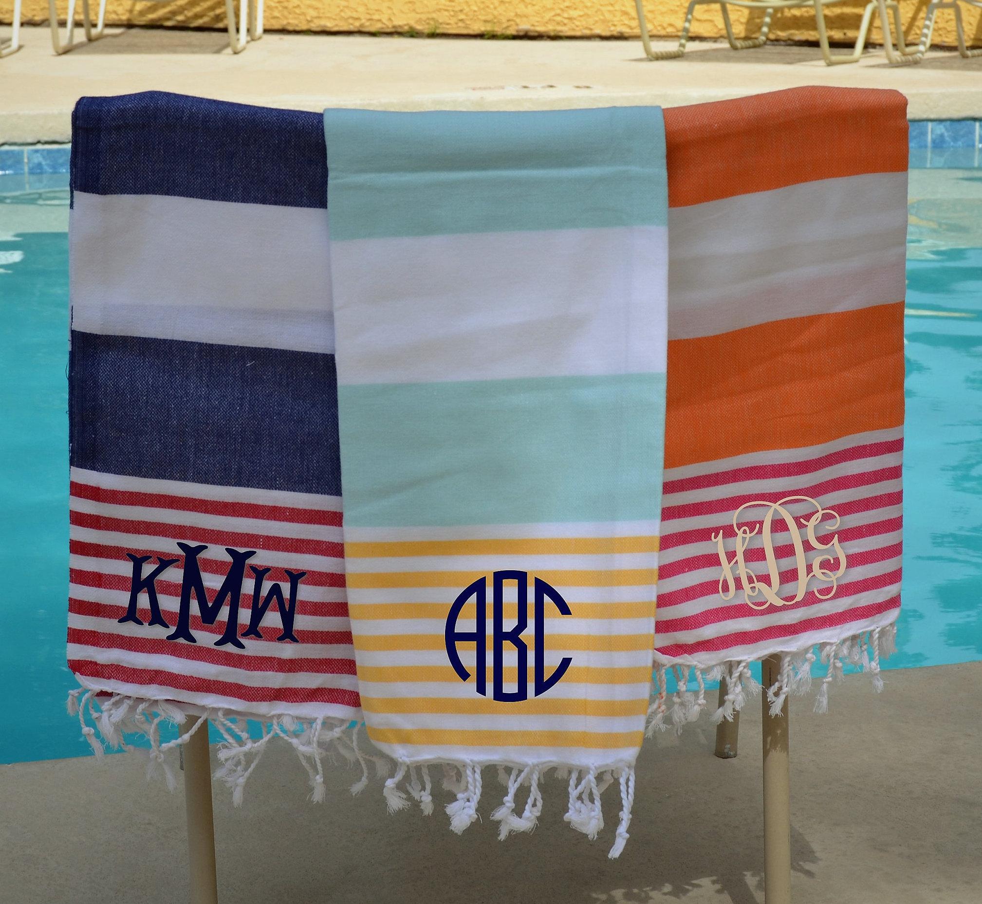 Monogram Turkish Towel Pestmal Stiped Towel Cotton Beach