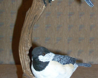 Vintage Wood Hand Carved Two Chickadees on Driftwood Sculpture signed and dated by artist Robert Schaber