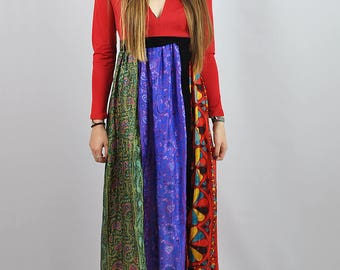 Vintage 70's Silk Scarf Hippy Statement Maxi Dress