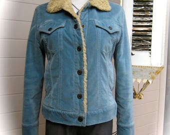 Vintage GAP Fluffy Lined Velour Jacket -  90s Pale Blue Velour Gap Jacket - Size M - Faux Fur Collar & Lining -  Made in India