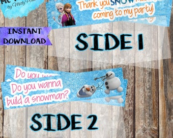 INSTANT DOWNLOAD Frozen Printable Birthday Treat Bag Toppers - YOU Print