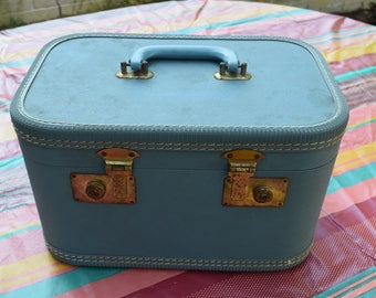 Aqua Blue Train Case Cosmetic Case Dance Makeup Bag