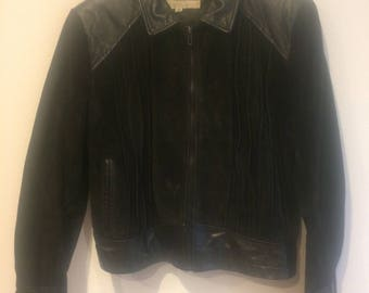 Sale Vintage WILSONS BLACK  Suede & Leather Jacket!  Adult Size 42 Coat 1980s detailed Suede and Leather design features Front Zipper Close