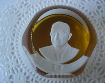 President Harry Truman Paperweight by Baccarat Crystal Golden Amber Colored Base Sulfide Portrait Under Fine Crystal Glass Dome Great Gift