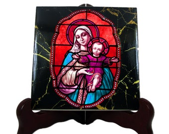 Religious gifts - The Virgin of the Rosary - religious icon on ceramic tile - catholic art religious art - Our Lady of the Rosary - Holy art