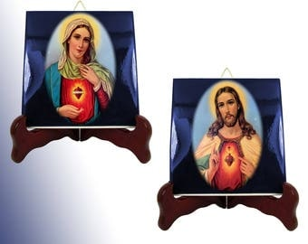 Religious icons on ceramic tiles - Sacred Heart of Jesus and Immaculate Heart of Virgin Mary - religious gifts catholic gifts catholic icons