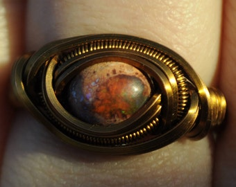Size 8.5 Hand-carved Genuine Mexican Fire Opal Wire Wrapped Ring in Copper