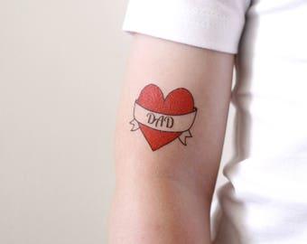I love dad temporary tattoo / dad tattoo / heart tattoo / fathers day tattoo / fathers day gift idea / kids photo shoot prop / kids tattoo