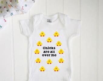 Chicks are all over me onesie  // Easter onesie // Baby Shower // Funny baby gift// Boy Baby // New Baby // Easter // Toddler Easter shirt