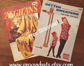 Set of 2 Vintage 1960s Coats & Clarks American Thread Afghan and Sweater Pamphlets Booklets - Free Shipping!