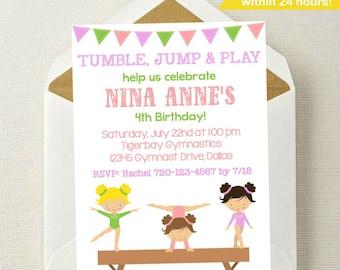 Gymnastics Birthday Invitation // Gymnastics Party Invitation // Gymnastics Birthday // Gymnast Invitation // Gymnastics Invite Printable
