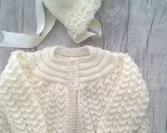 Hand Knitted Baby Girls Matinee Coat and Bonnet Cream 0-3 months