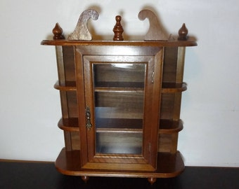 vintage wooden curio cabinet with glass door for wall mount or table top